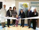 PCICU Ribbon-cutting. David Guzick, M.D., PH. D., Jason Haeseler, Rachel Haeseler, Genieve Haeseler, Mark Bleiweis, M.D., Tim Goldfarb, UF Health CEO and Irene Alexaitis, UF Health Chief Nursing Offficer, cut the ribbon marking the opening of the new pediatric cardiac intensive care unit.