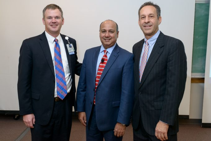 From left to right: Steven J. Hughes, MD; Nipun Merchant, MD (Cracchiolo Family Professorship in Surgery Visiting Professorship Lecturer for 2016) and Jim Cracchiolo.