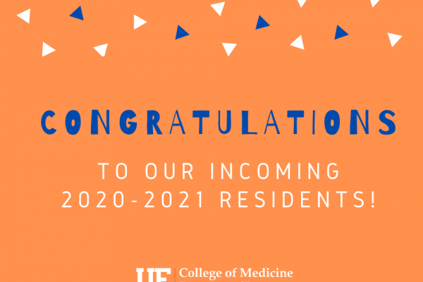 Congratulations to our incoming 2020-2021 residents