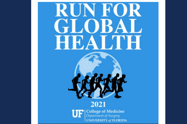 Run For Global Health text over blue background