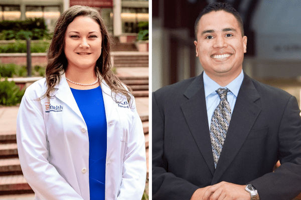 Two physicians and their headshots; A woman, left, and a man, right