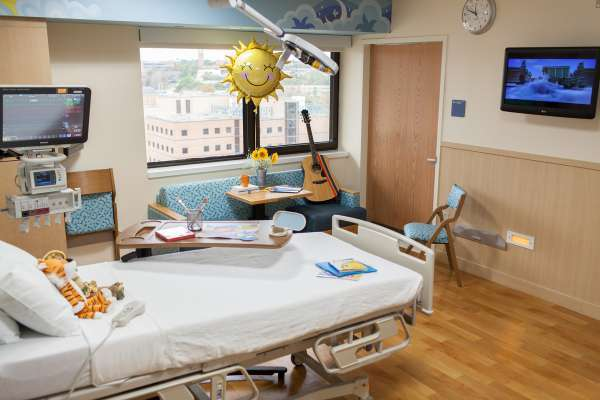 Patient room in the UF Health Children's hospital