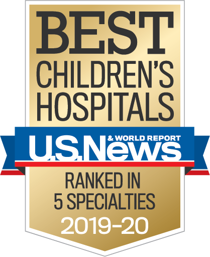 U.S News & World Report badge for the best children's hospitals