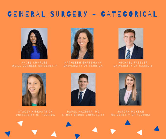 Our general surgery categorical residents includes Angel Charles from Weill Cornell University, Kathleen Ehresmann from University of Florida, Michael Fassler from University of Illinois, Stacy Kirkpatrick from University of Florida, Pavel Mazirka from Stony Brook University and Jordan McKean from University of Florida.
