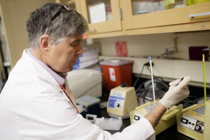 Man using pipette