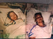 A photo of Morgan, asleep in a hospital bed, is spliced with a photo ofShannon, also asleep in a hospital bed.